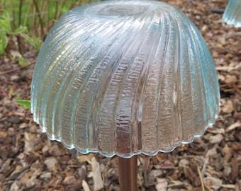 Pair of Aqua Swirl Glass & Copper Solar Lights / Sun Catchers-Set of 2  Matching Lights