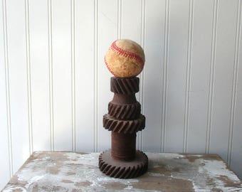 Rusty metal gear vase candle holder pedestal steampunk industrial sculptural salvage