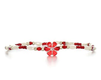 Red Flower Anklet - Pearl Jewelry - Child Ankle Bracelet - Stretch Jewelry - Girls Anklet - Beaded Jewelry - Red White Anklet