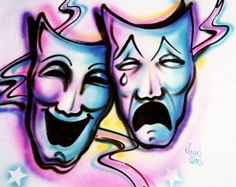 airbrush t shirt, Theater masks, custom bedding, airbrush art, personalized tshirts, comedy and tragedy