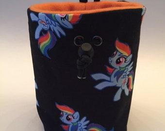 Rainbow Dash Rock Climbing Chalk bag, Zipper Pocket Opt