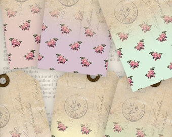 Flower Tags Floral Tags instant download printable gift tags digital Collage Sheet VD0609