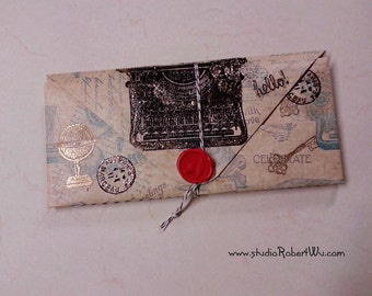 Booklover's Paper Wallet - Vintage Typewriter / Writing Theme. 14 Pockets Folder Organizer