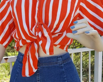 Vintage Calvin Klein Shirt / Orange and White Shirt / 80's / Vintage Clothing