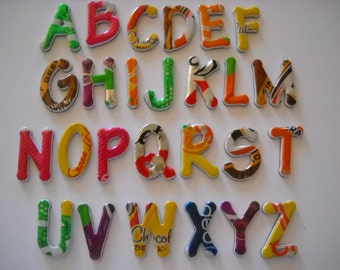 Magnetic Alphabet Letters Teachers Recycled Soda Can Coke EcoFriendly Earth Day