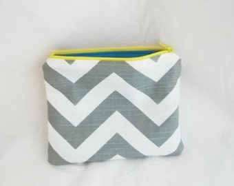 Embroidered Makeup bag - Personalized Chevron Pouch - Bridesmaid clutches - Small
