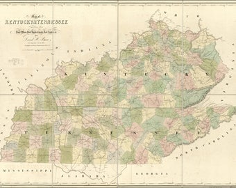 Poster, Many Sizes Available; Map Of Kentucky & Tennessee 1839