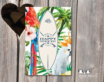 themed Father's Day card Hawaii map to print, size 10x15 cm, recto, pro printing on demand