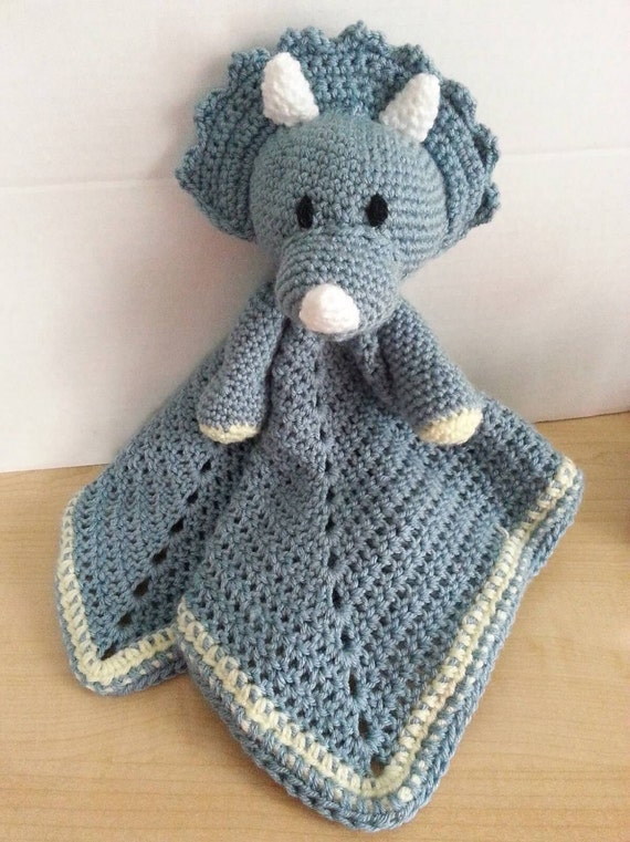 Crochet Snuggle Triceratops Lovey Dinosaur Wubby Security