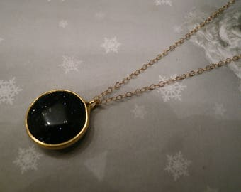 Necklace gold plated chain 14 k / / black glitter pendant / / faceted glass