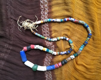 Vintage African Hand Painted Tribal Glass Bead Necklace|Full Strand of 56 Beads