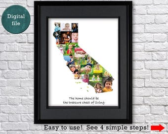 California gift California prints Photo collage California ornament Personalized gift for her California map United states map State art