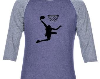 Anvil Adult Tri-Blend 3/4 Sleeve Raglan Basket ball T shirt Tee