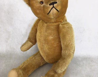 antique mohair teddy bear, golden mohair teddy bear, vintage teddy bear