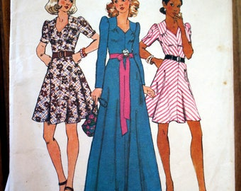 Vintage 1974 Simplicity sewing pattern #5783  dress size 10 bias cut skirt sweet heart neckline