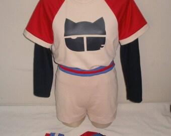 Haruko Haruhara from FLCL Baseball Cosplay - Fooly Cooly Baseball Uniform - Baseball Jersey, Shorts, Cat Baseball Cap, Undershirt and Socks
