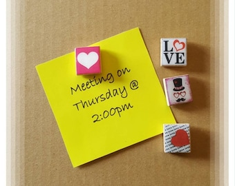 Heart theme Scrabble Tile Thumb Tacks ~ Set of 4 ~ Cubicle Decor ~ Teacher Gifts ~ Co-Worker Gifts
