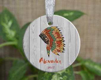 Personalized Christmas Ornament, Baby First Christmas ornament, Custom Ornament, Newborn baby gift, Tribal ornament, Christmas gift. o076