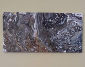 HIGH TIDE / 10x20 Original Poured Acrylic Painting on Canvas with Gloss Finish