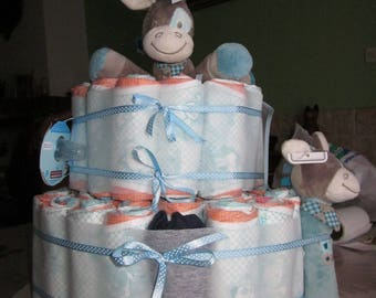 Diaper cake for baby boy in blue tones