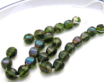 Dark Olivine Celsian 10mm 2 way faceted Coin beads   25