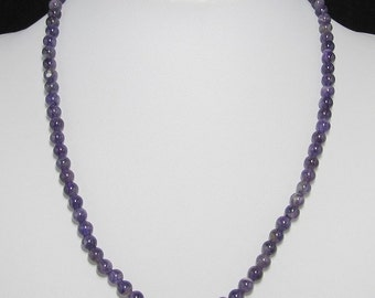 Amethyst 6mm and 925 Silver 19 inch necklace