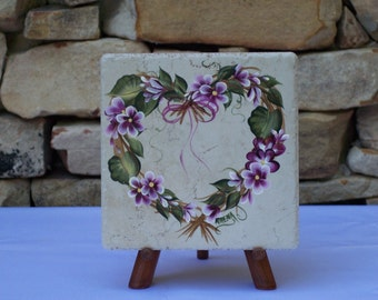 Hand Painted Tile Trivet with Heart-Shaped Straw Wreath and Magenta Flowers