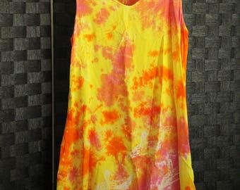 90s beach hippie fest girl TIE DYE babydoll dress