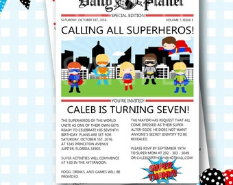 Superhero Invitations, Superheroes Birthday, Daily Planet Birthday Invitation, Superhero Newspaper Invitation, Superheros Invite - #S41