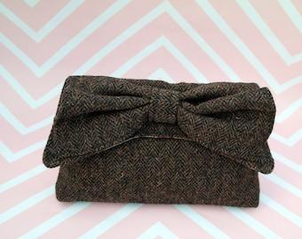 Katharine - Chocolate Brown Herringbone Harris Tweed Clutch Bag - evening purse - bow - formal - handmade