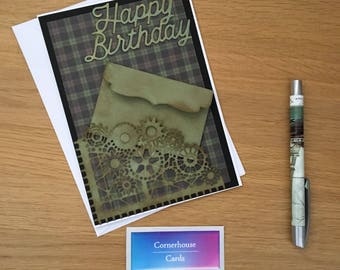 Gift card envelope pocket, steampunk card for friend with gift card wallet, male birthday card with gift card holder