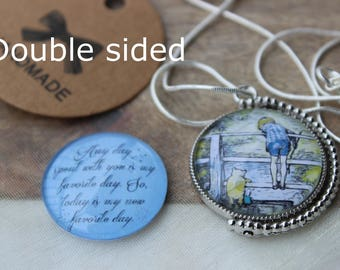 Winnie The Pooh quote necklace/Winnie The Pooh quote jewelry/Pooh and piglet gift/Simple friend gift/Small sister gift/Valentines Day Gift