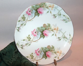 8194: Antique Signed HR Bavaria Cabinet Plate Pink Roses Farmhouse Cottage Chic Vintage Porcelain China at Vintageway Furniture