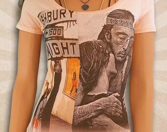 Vintage Haight Ashbury Shirt - San Francisco 1969 - Summer of Love - Retro Deep V-Neck T Shirts - Scoop Neck T Shirt