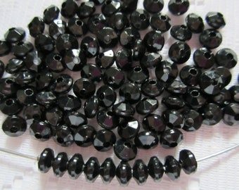 50  Ebony Black Faceted Saucer Acrylic Spacer Beads  6mm