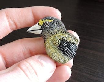 Hand-Made Evening Grosbeak Bird Magnet