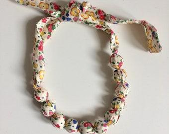 Liberty print fabric necklace