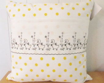polka dot duck vintage fabric pillow 16x16