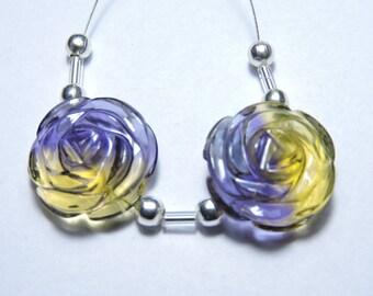 2 Pcs Very Attractive Ametrine Quartz Hand Carved Flower Shaped Beads Size 18X18 MM