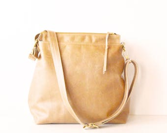 Leather hobo bag / Leather crossbody bag / Leather bag / Leather zipper hobo bag / Soft hazelnut leather bag /  Leather Handbag with Linen