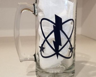 Customized Navy Rate  Glass Beer Stein