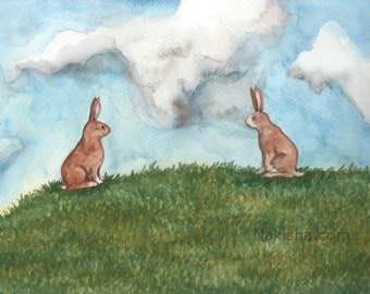 RESERVED for LS - Original Art - When we first met - Watercolor Rabbit Painting