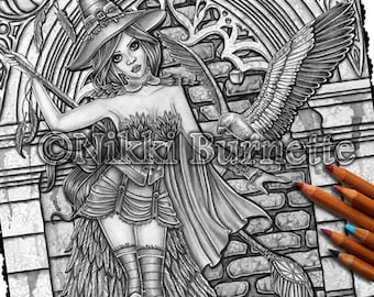 Adult Coloring Page - Grayscale Coloring Page Pack - Printable Coloring Page - Digital Download - Fantasy Art - AERYN - Nikki Burnette