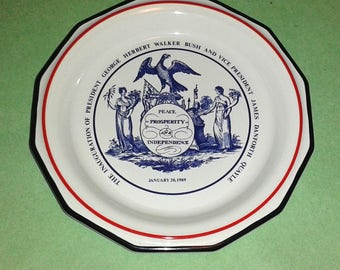 George H.W. Bush 1989 Presidential Inauguration Rare Collectors Plate by Mottahedah