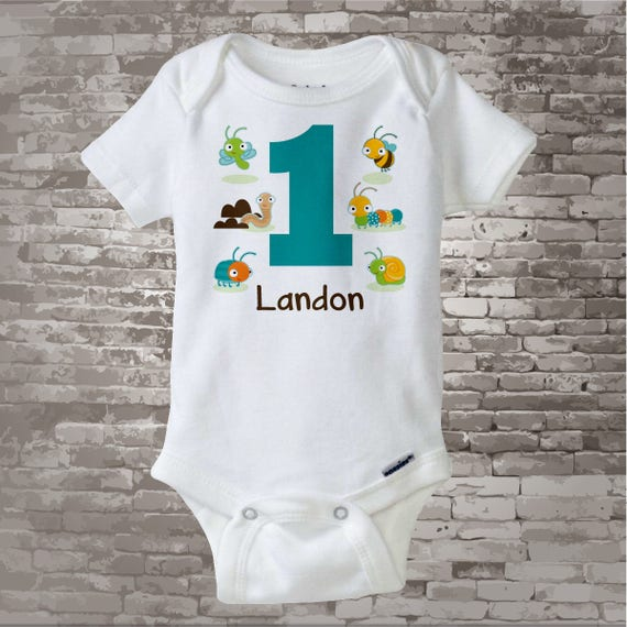 Boy's One Year Old Bug Birthday Shirt or Onesie with Name