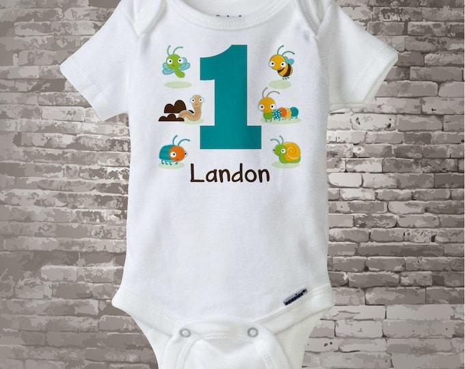 Boy's One Year Old Bug Birthday Shirt or Onesie with Name, 1st Birthday Shirt, Personalized Bug Birthday Theme 09012014c