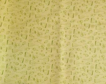 FABRIC -5 yards- Robert Kaufman -On a Whim - Green Flower Sketch