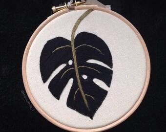 Monstera embroidery hoop art