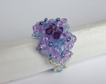 Ring purple swarosky Crystal beads