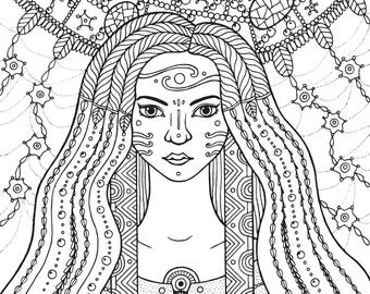 Shaman Girl - Instant Download DIY Printable Digital Coloring Page For Adults